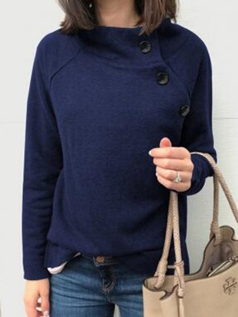 Buttoned Plain Round Neck Fleece Tops