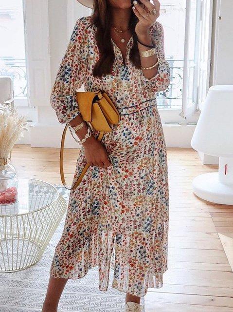 Casual V Neck Cotton-Blend Dresses