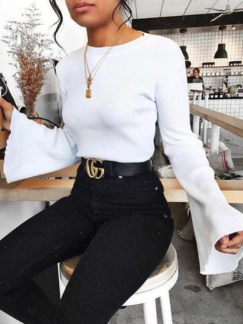 Cotton Casual Knitted Long Sleeve Solid Crew Neck Tops