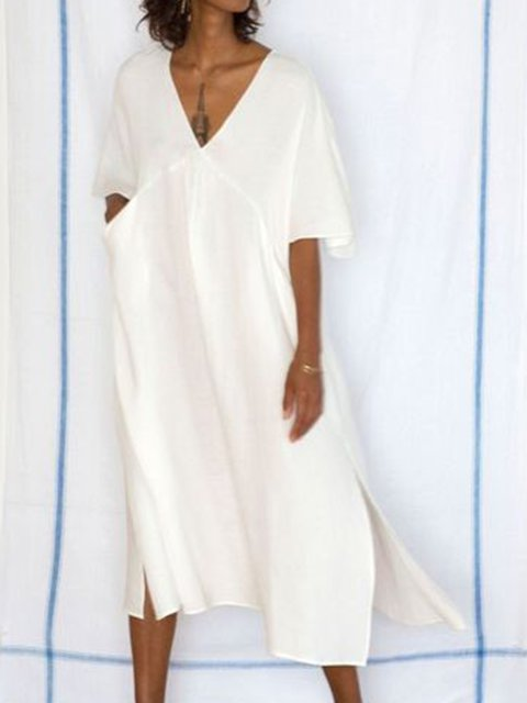 V Neck White Women Casual Dresses Daily Solid Dresses