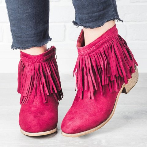 Tassel Chunky Heel Zipper Ankle Boots