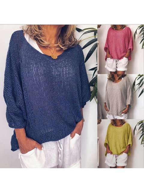 Solid Knitted 3/4 Sleeves Crew Neck Casual T-shirt Top