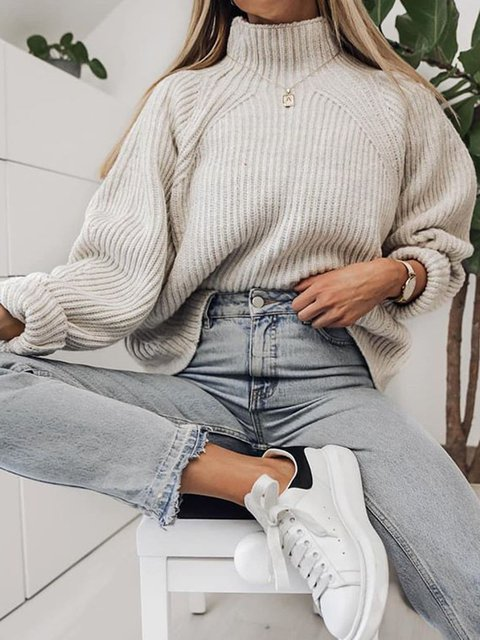 Knitted Turtleneck Casual Cotton Sweater