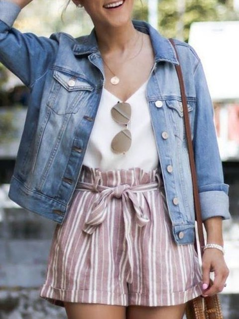 Denim Pockets Long Sleeve Solid Buttoned Holiday Outerwear