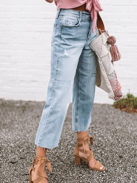 Holiday Pockets Buttoned Denim Casual Pants