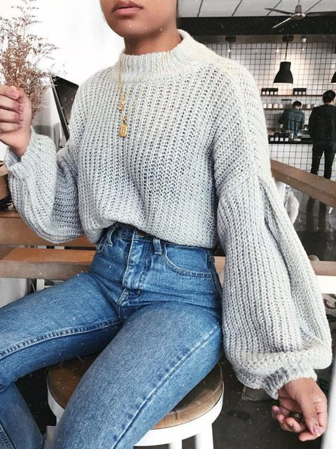 Cotton Casual Crew Neck Long Sleeve Knitted Sweater