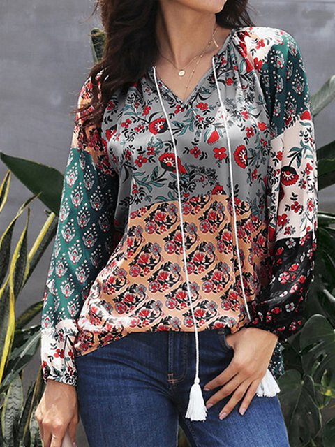 Floral V-neck Long Sleeves Chiffon Blouse Top