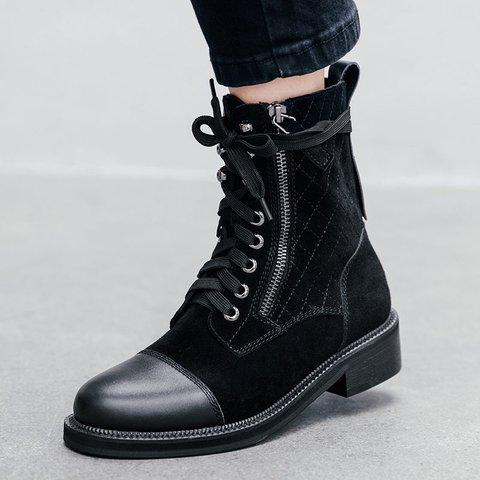 Stylish Genuine Leather Round Toe Riding Martin Boots