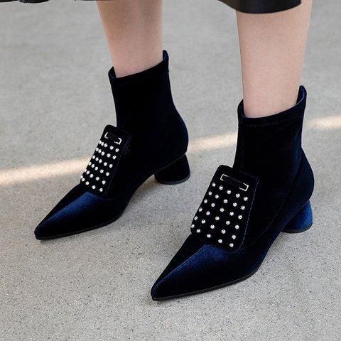 Stylish Flocking Pointed Toe Chunky Heel Boots