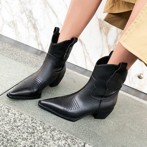 Stylish Genuine Leather Square Toe Chunky Heel Cowgirl Boots