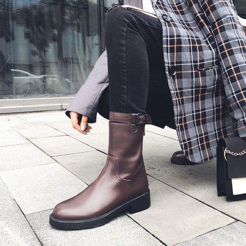 Stylish Genuine Leather Round Toe Chunky Heel Boots