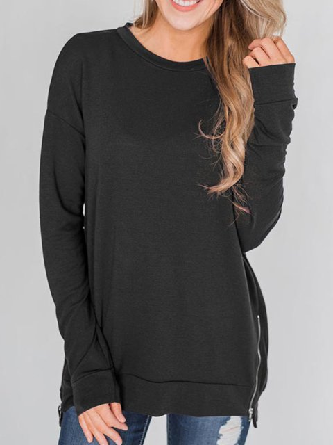Casual Long Sleeve Shift Cotton-Blend Shirts Hoodies