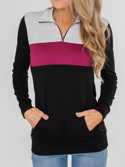Color-Block Casual Long Sleeve Sweatshirts