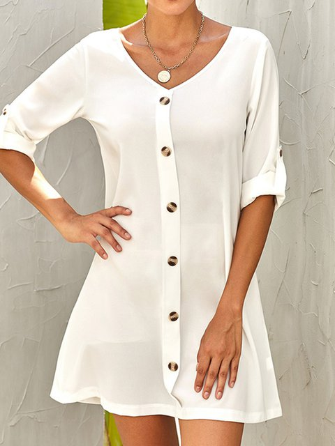 V Neck Women Casual Dresses Daily Cotton-Blend Paneled Dresses