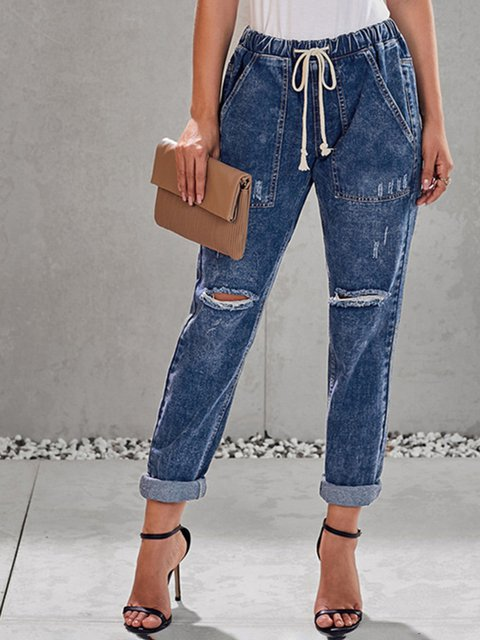 Denim Washed Casual Solid Jeans