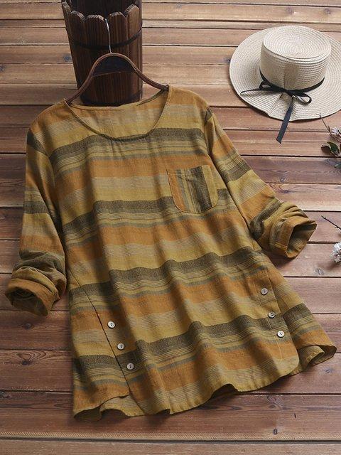 Plus Size Stripes Print Long Sleeve Women T-shirts