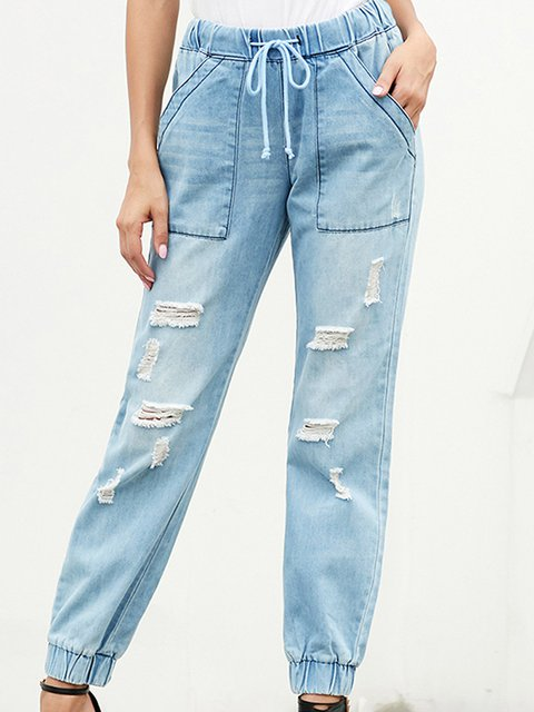 Pockets Cotton Solid Washed Basic Casual Jeans
