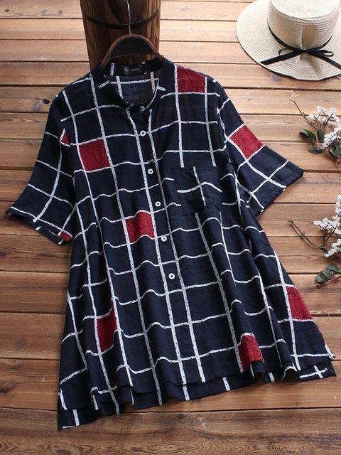 Plus Size Geometric Print Loose Fit Women Shirts