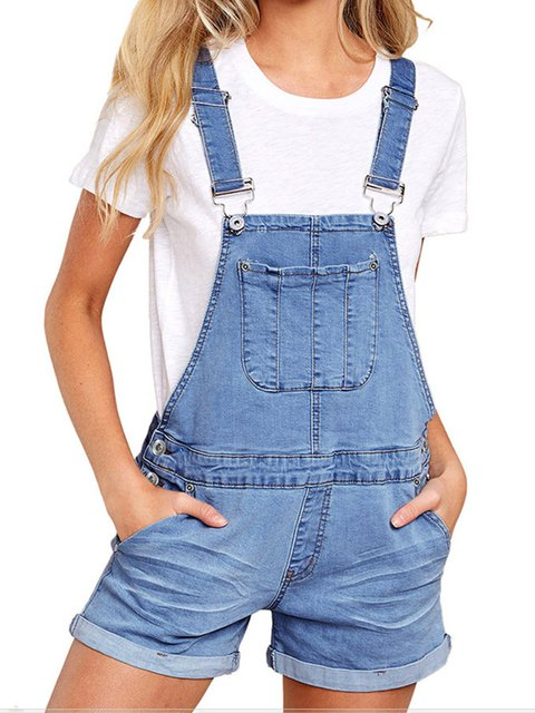 Denim Washed Casual Solid Pockets Jeans