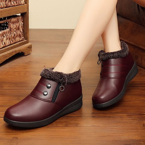 Slip-On Ankle Snow Boots PU Round Toe Casual Shoes