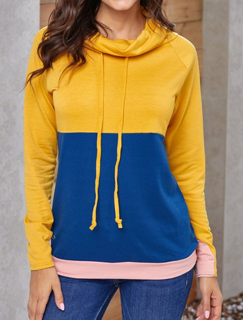 Long Sleeve Turtleneck Cotton-Blend Hoodies