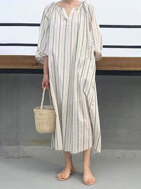 V Neck Women Dresses Going Out Casual Printed Stripes Dresses