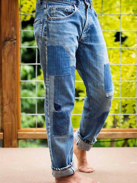 Blue Patchwork Casual Pants