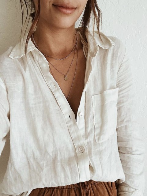 Beige Holiday Cotton Shirt Collar Solid Shirts & Tops