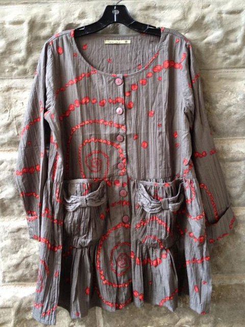 Cotton Vintage Geometric Shirts & Tops