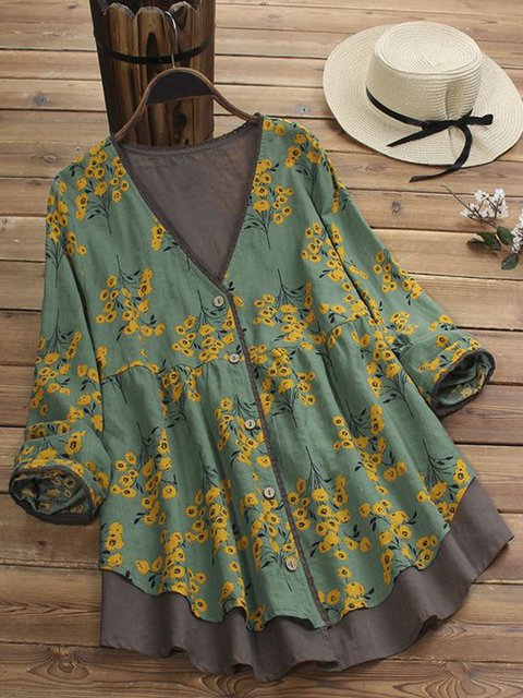 Printed Floral Cotton V Neck Long Sleeve Tops