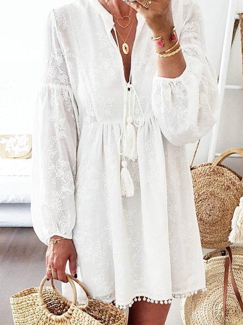 Casual Plus size lace cotton dress