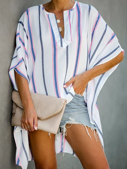 Striped V Neck Casual Shirts & Tops