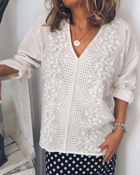 White Cutout Holiday Solid Shirts & Tops