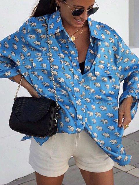 Printed Shirt Collar Cotton Long Sleeve Pockets Animal Shirts