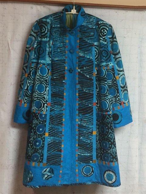 Blue Cotton-Blend Long Sleeve Shift Outerwear