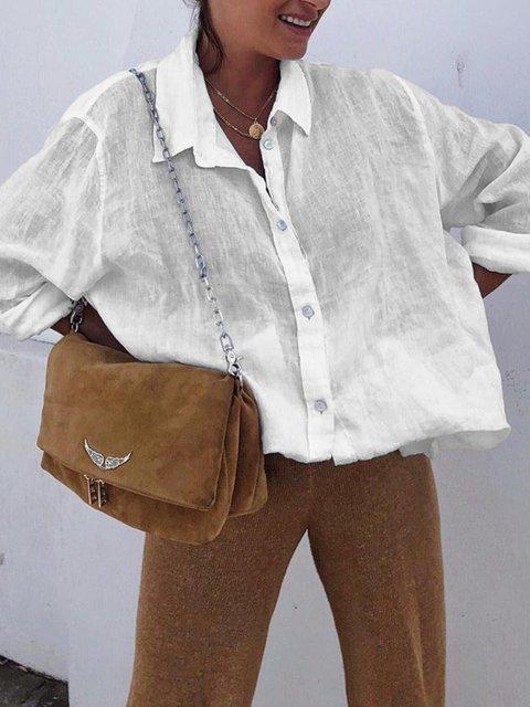 Holiday Long Sleeve Linen Shirt Collar Buttoned Shirts
