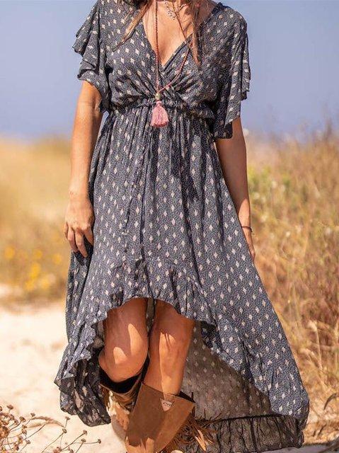 Floral Cotton-Blend Short Sleeve V Neck Dresses