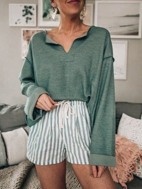 Cotton Long Sleeve Paneled Holiday Tops