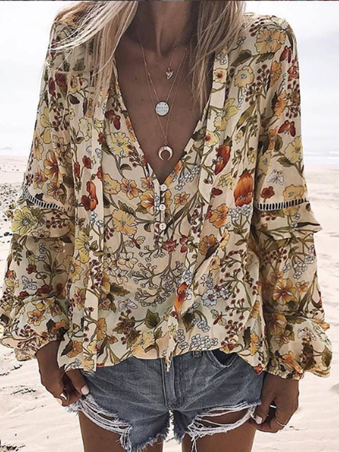 As Picture Casual Chiffon Long Sleeve Floral-Print Shirts