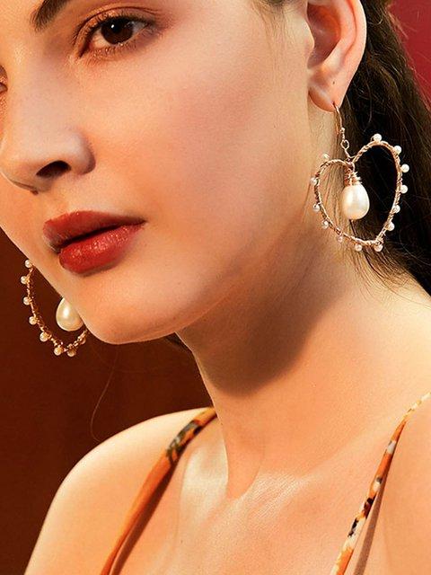 Women Alloy Heart Shape Earrings