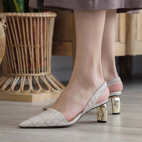 Stylish Genuine Leather Pointed Toe Special Heel Slingback Pumps