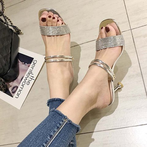 Date Open Toe Slip On Kitten Heel Sandals
