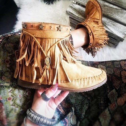 Bohemian fringed ankle boots