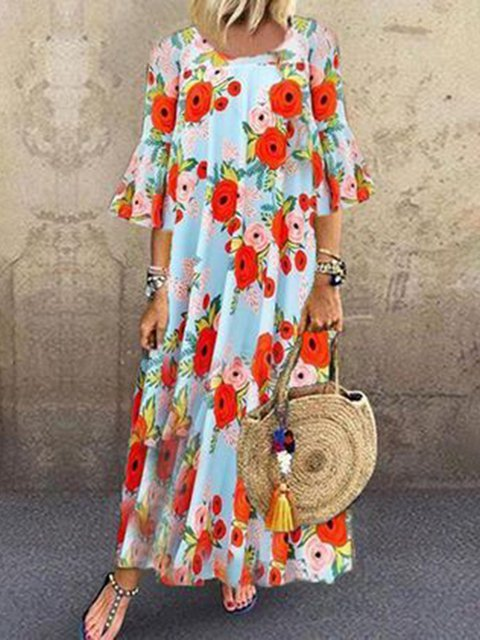 Printed Floral Crew Neck Women Dresses Going Out Cotton Dresses