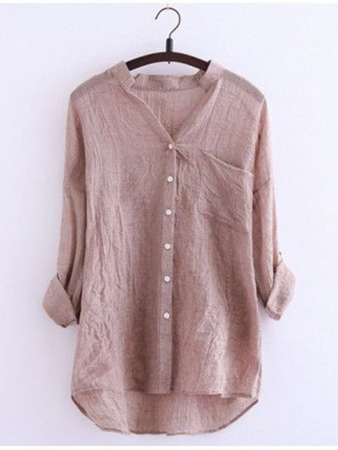 Pockets Cotton V Neck Solid Buttoned Long Sleeve Shirts