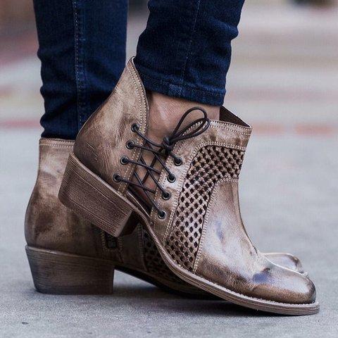 3735eb760b5 Stylish Ankle Boots Comfortable Chunky Block Heel Western Cowboy Zipper  Booties