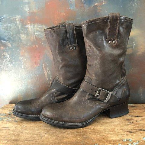 Vintage Slip-On Mid-Calf Boots Chunky Heel Adjustable Buckle Cowboy Boots
