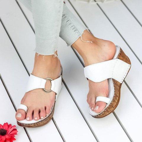 Toe Ring Wedge Heel Slip-on Slippers