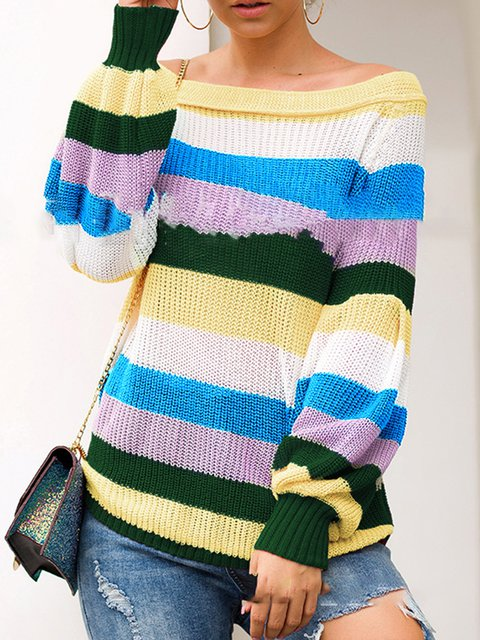 Casual  Stripe Knitted Basic Sweaters