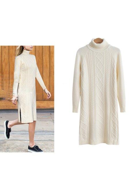 Turtleneck Women Knitted Dresses